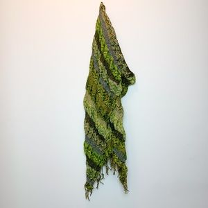 Accessories - Green Abstract Print Scarf
